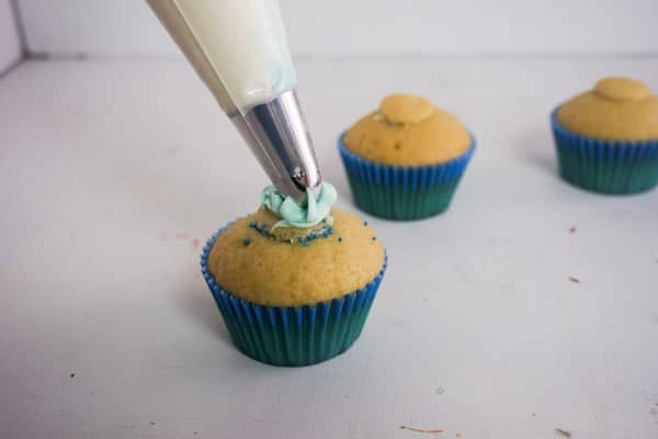 using a pastry bag to put frosting on a cupcake with two other cupcakes in the background