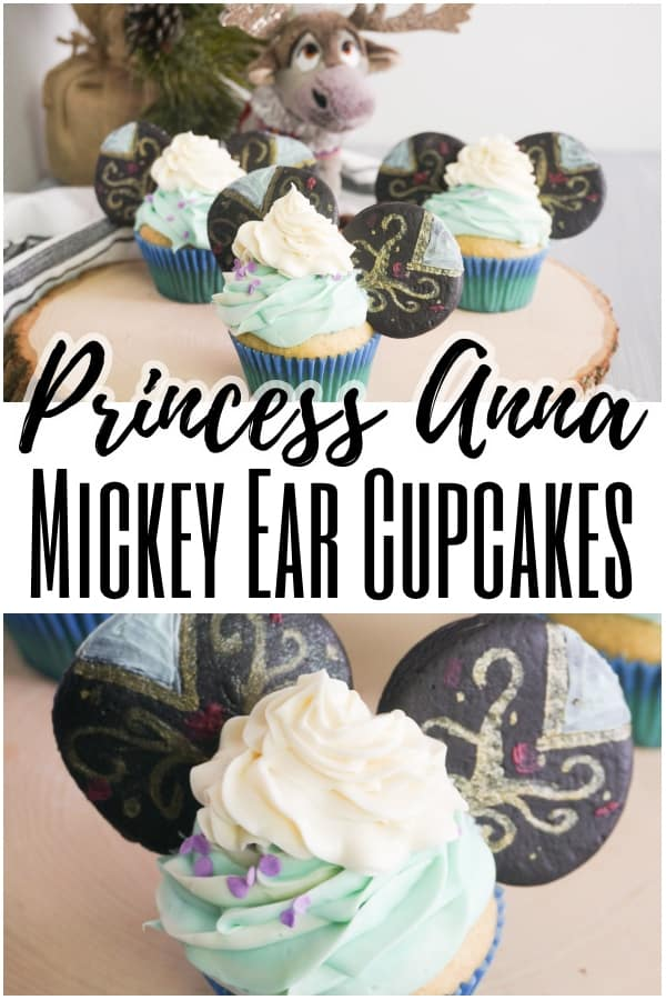 These easy Princess Anna Mickey Ears Cupcakes are super fun and look amazing. But I have a secret: they're really super easy and come together quick! #disneyprincesscupcakes #disneyprincessparty #disneyparty #frozenparty #frozen #frozencupcakes via @wondermomwannab