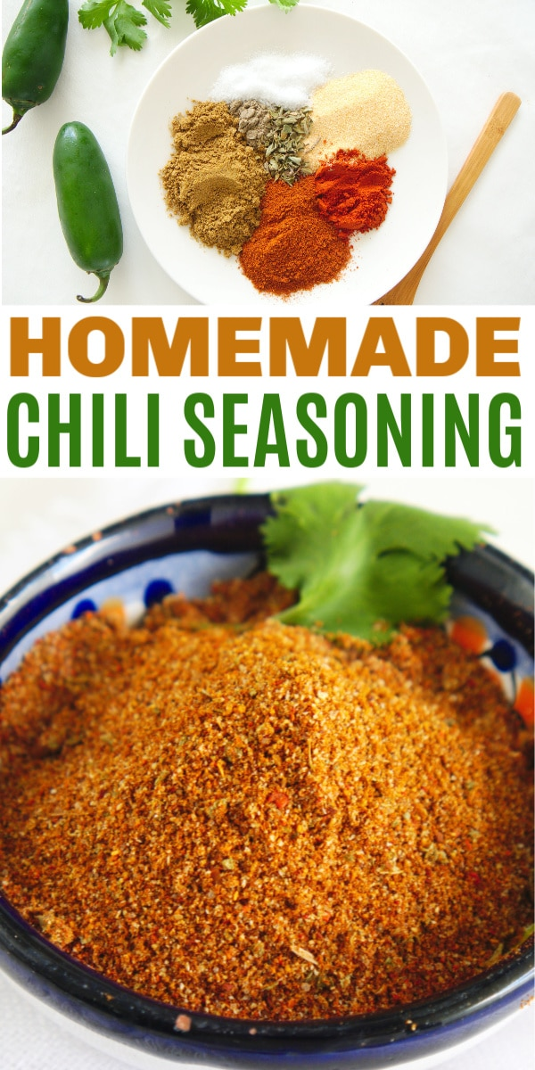 a collage of easy homemade chili seasoning in a bowl with parsley on it on a white background with title text reading Homemade Chili Seasoning