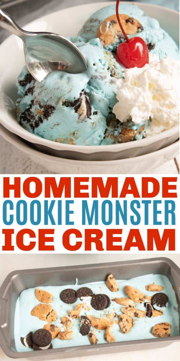 a collage of homemade cookie monster ice cream topped with a cherry in a white bowl and more ice cream in a pan with title text reading Homemade Cookie Monster Ice Cream