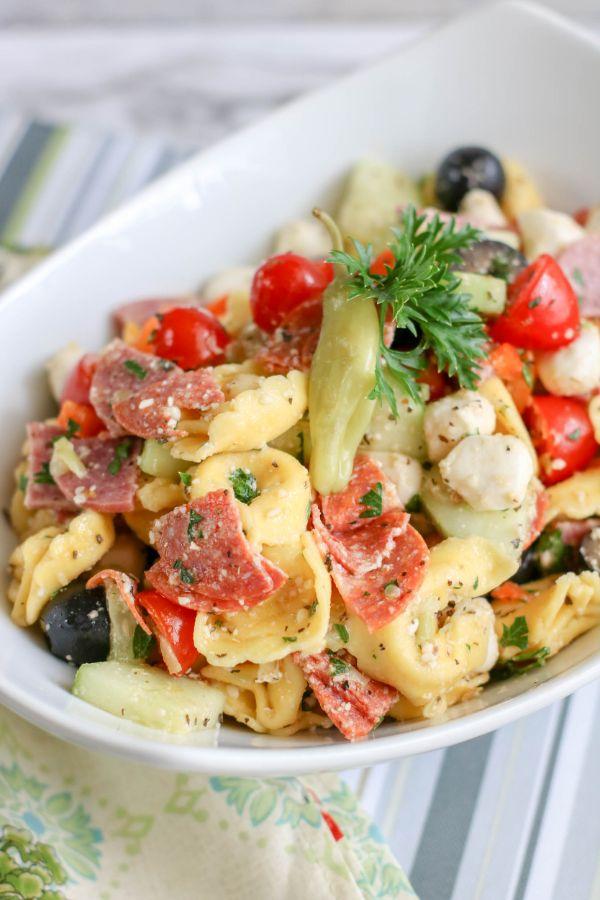 Italian Tortellini Salad in a white dish