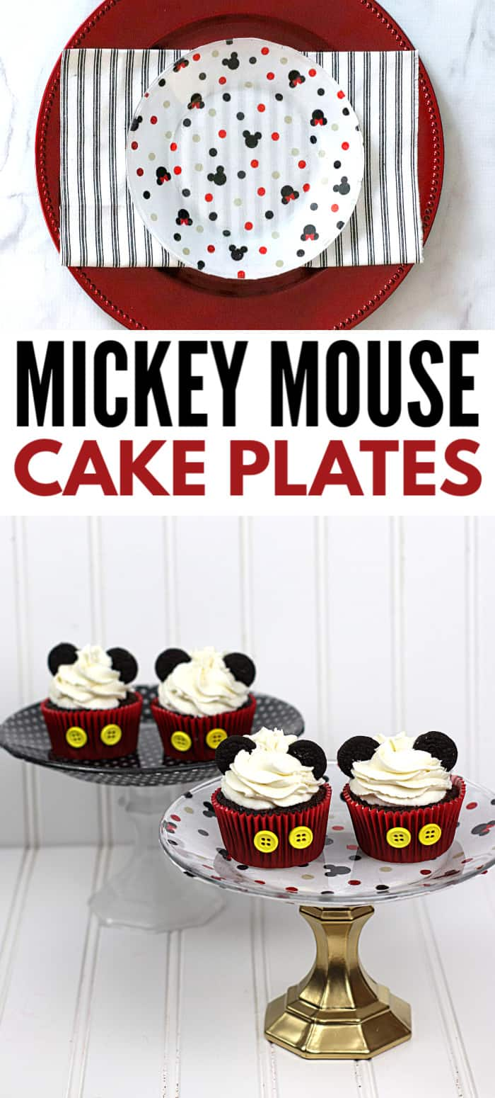 A quick stop at the Dollar Store and a few craft supplies are all you need for these DIY Mickey Mouse Cake plates! Perfect for Disney lovers. Love something else? Swap out  the fabric with another pattern or design! #mickeymouse #diy #dollarstore #crafts via @wondermomwannab