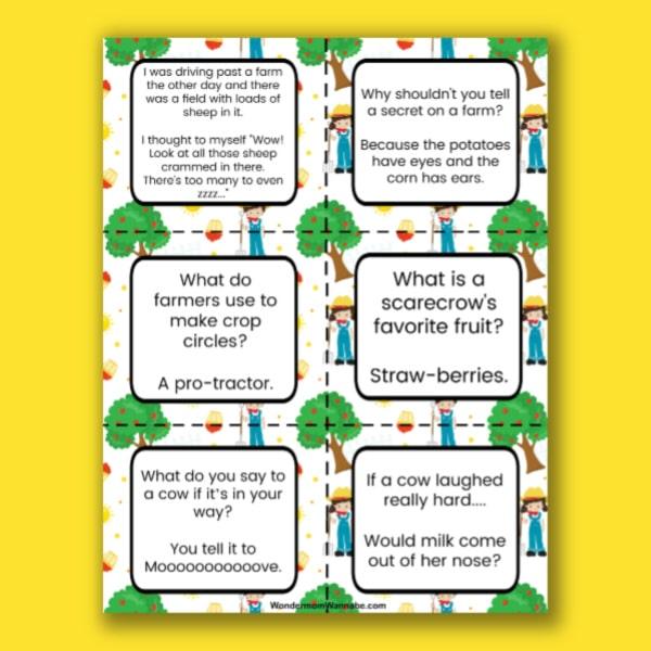 fun printable farm jokes for kids on a yellow background