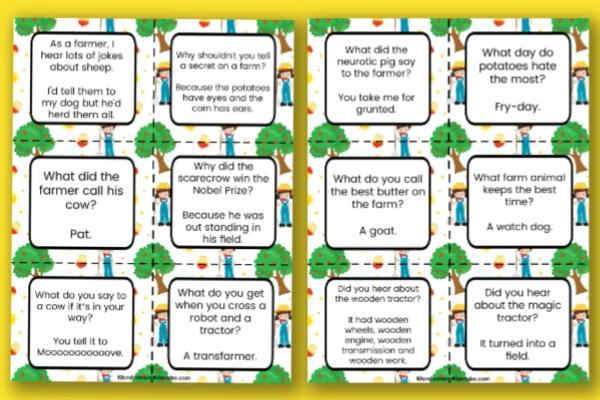 printable farm jokes for kids on a yellow background