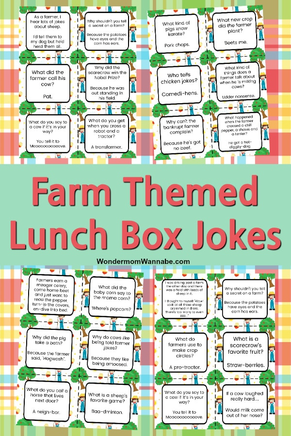 printable farm jokes for kids on a multi-colored background
