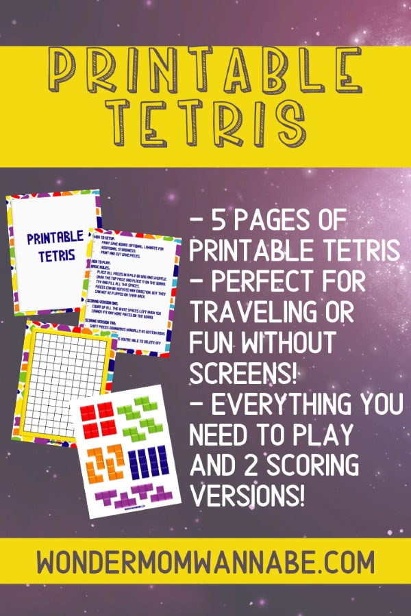 printable tetris board game with text describing the game on a purple background with title text reading Printable Tetris on a yellow background