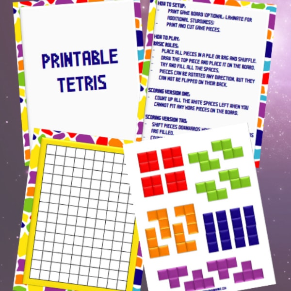 printable tetris board game on a purple background