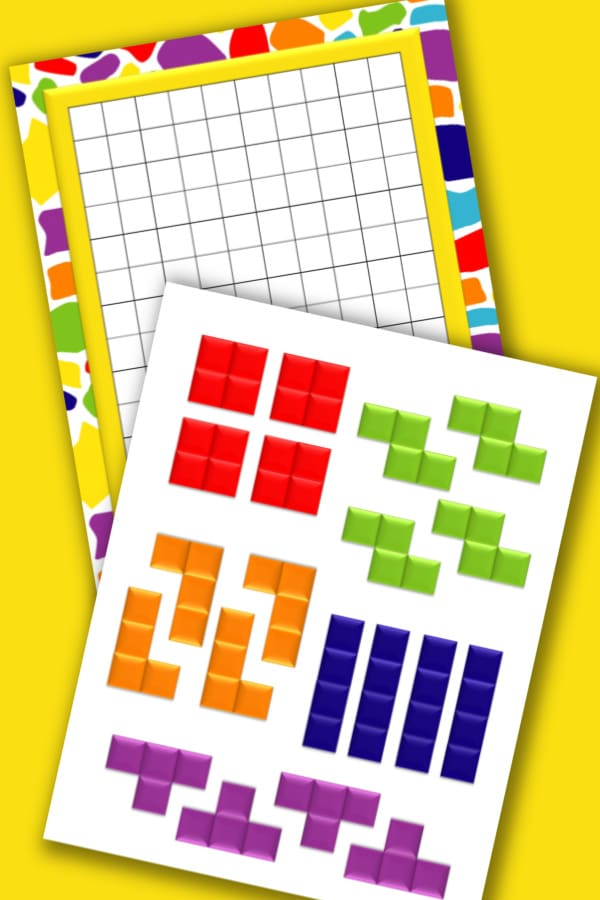 printable tetris board game on a yellow background