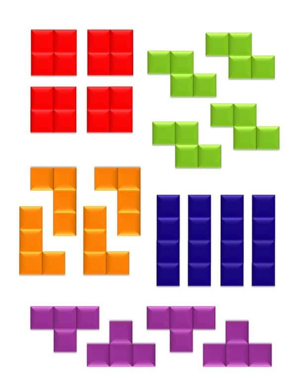 printable tetris board game pieces