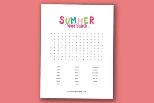 printable summer word search for kids on a pink background