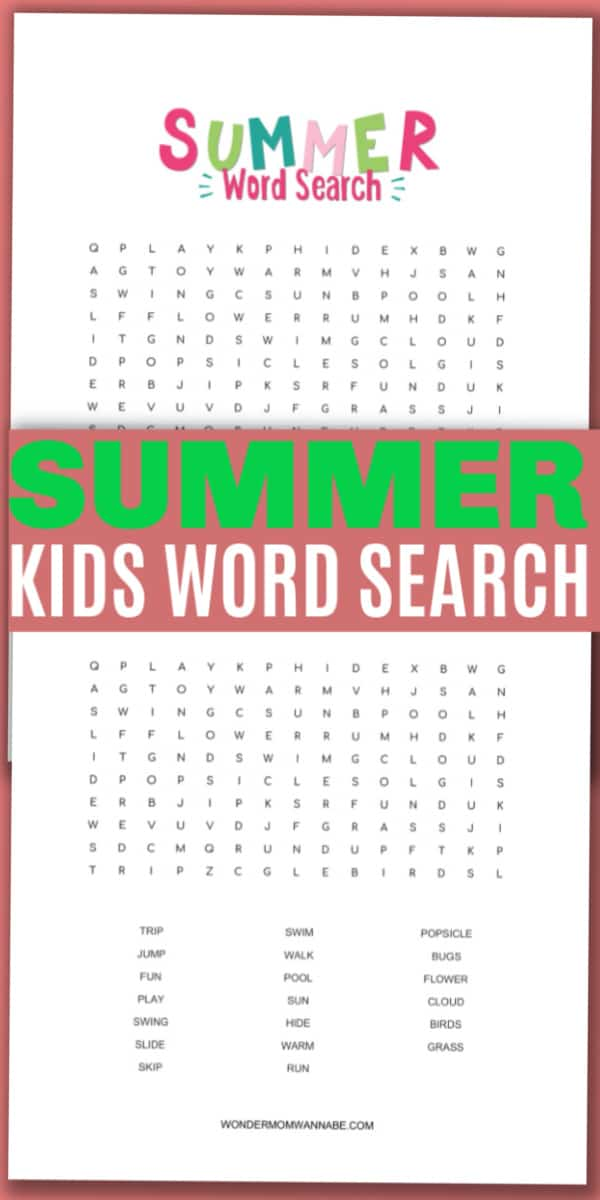 printable summer word search for kids with title text reading Summer Kids Word Search