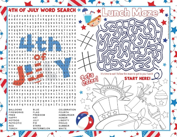 printable 4th of July Placemat for Kids