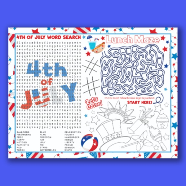 printable 4th of July Placemat for Kids on a blue background