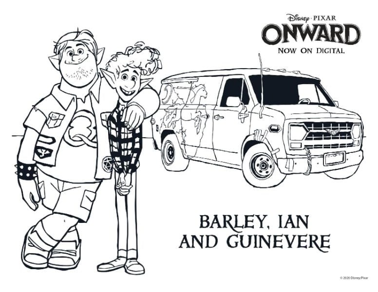 Barley, Ian and Guinevere coloring page from the movie Onward