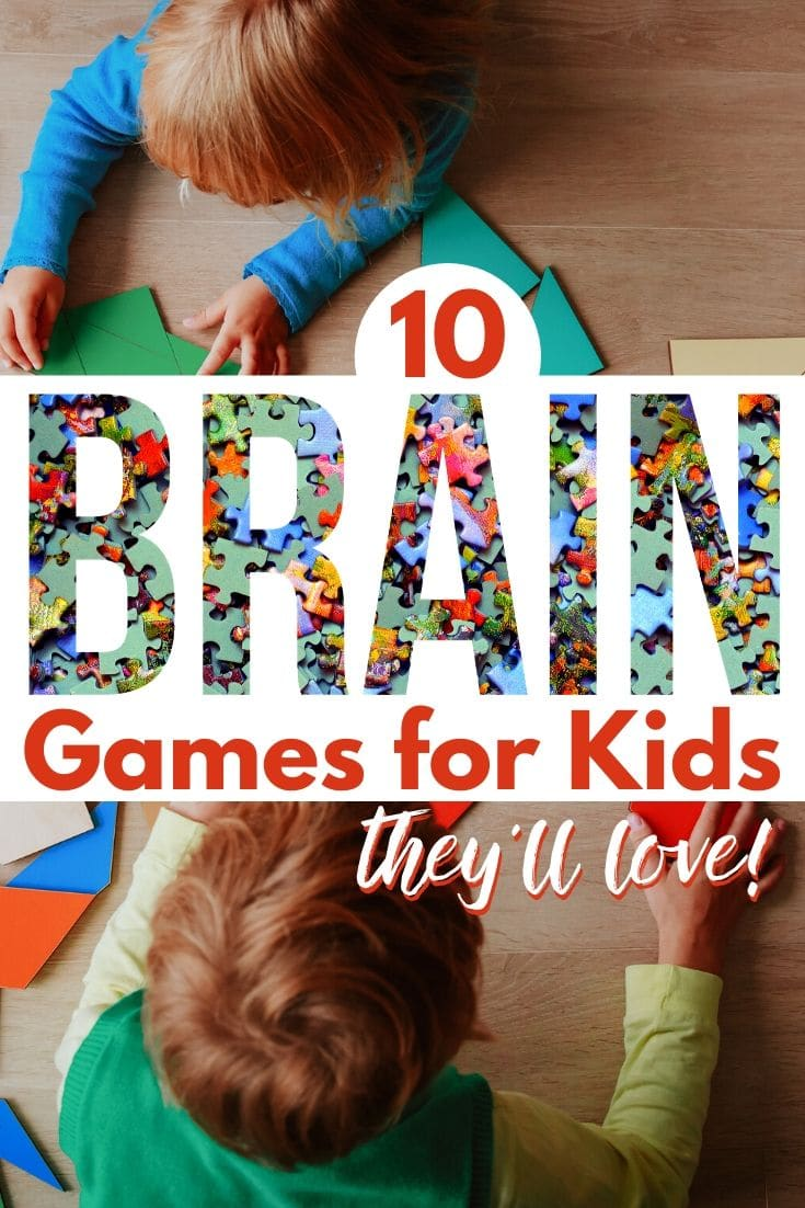 two kids playing a tangram puzzle game on a table with title text reading 10 Brain Games for Kids they'll love!