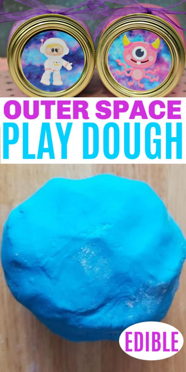 a collage of Edible Outer Space Play Dough in two jars with aliens on the lids and a big blue ball of play dough on a brown table with title text reading Outer Space Play Dough