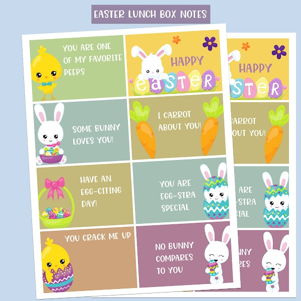 free printable Easter lunchbox notes on a blue background with title text reading Easter Lunch Box Notes