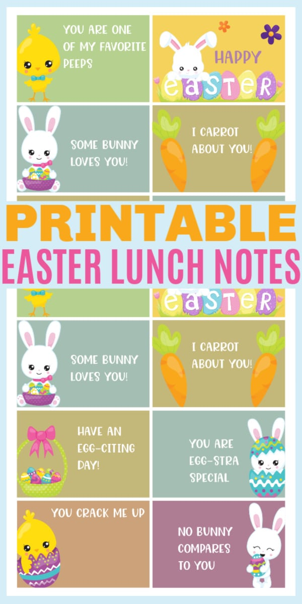 free printable Easter lunchbox notes with title text reading Printable Easter Lunch Notes