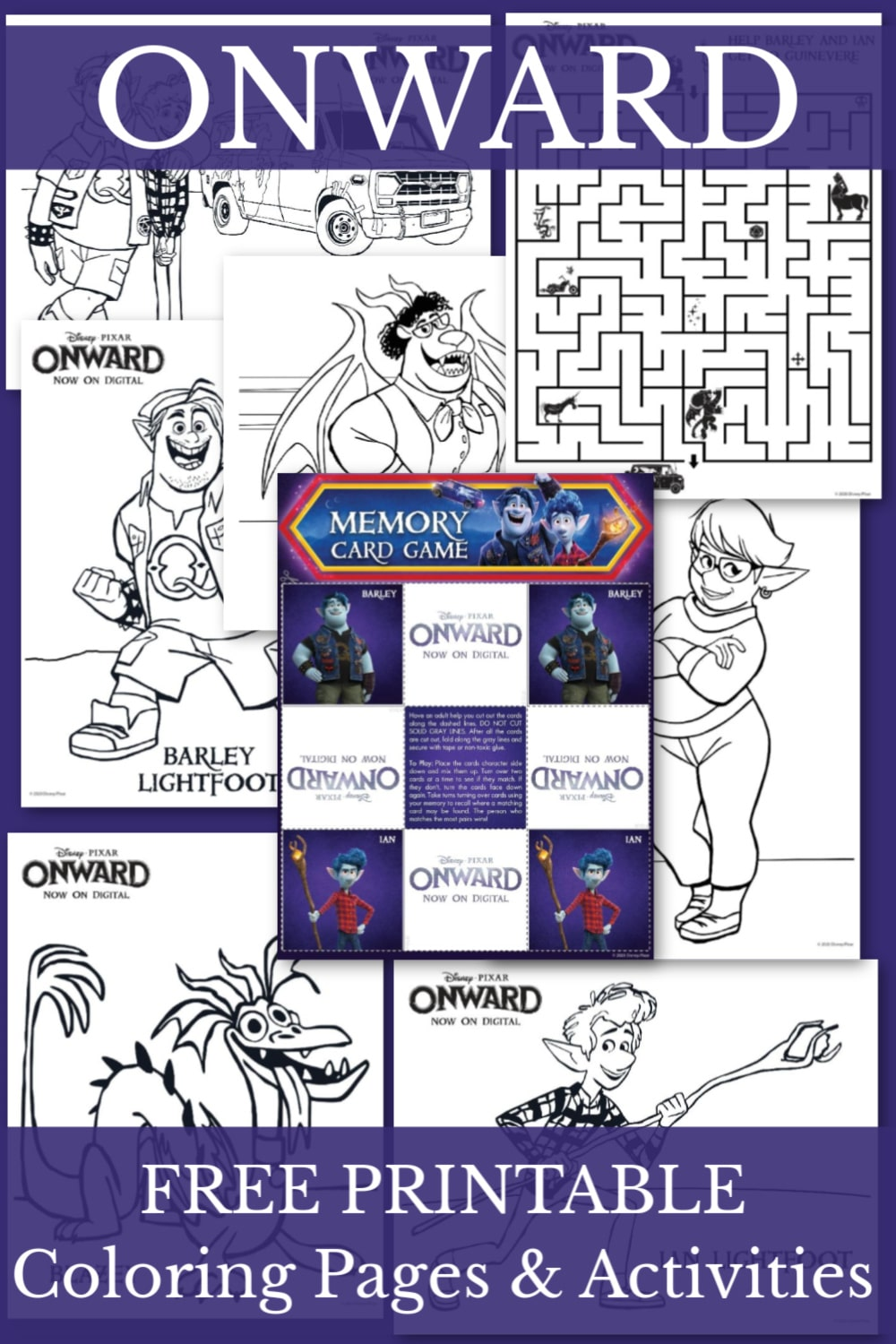 Your child will love these free printable ONWARD Coloring and Activity Pages. There's six printable coloring pages featuring key characters from the movie. #onward #printable #kidsactivities #coloringpage via @wondermomwannab