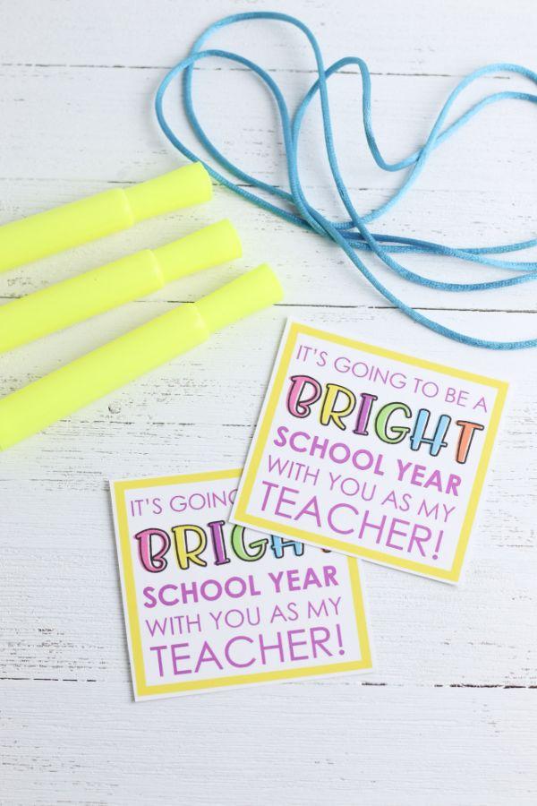 supplies for a Highlighter Teacher Gift