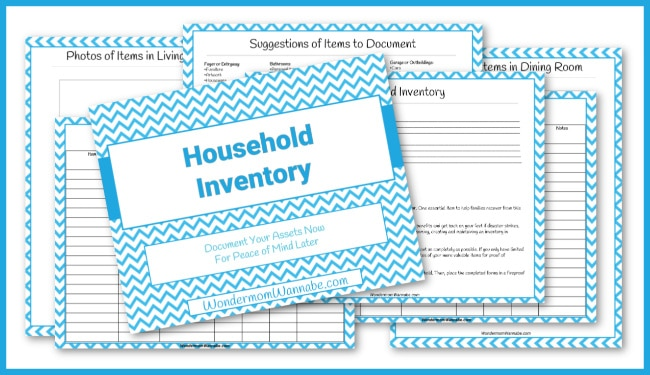 printables included in the Household Inventory Workbook