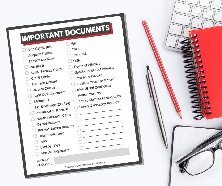 printable checklist for Important Documents next to a pen, pencil, notebook, keyboard, and glasses on a white background