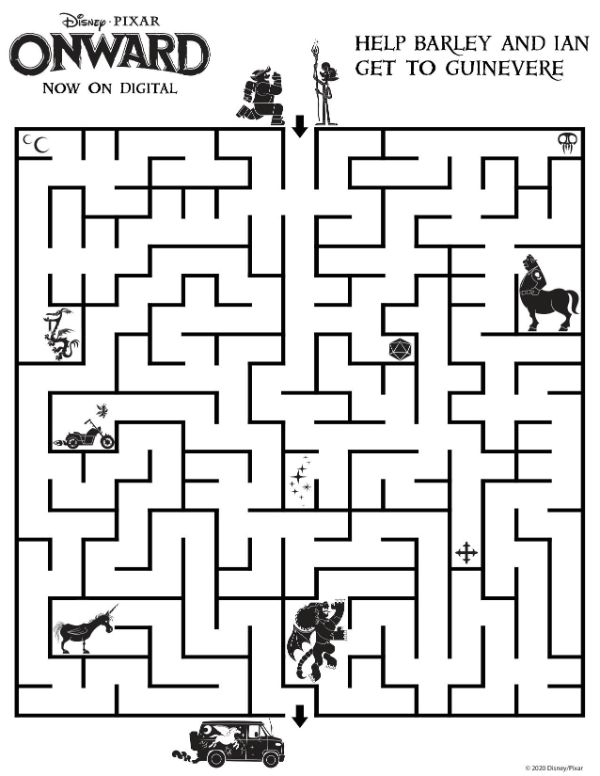 a maze printable page from the movie Onward