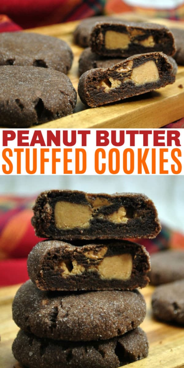 a collage of a stack of Peanut Butter Stuffed Cookies on a wood table with title text reading Peanut Butter Stuffed Cookies