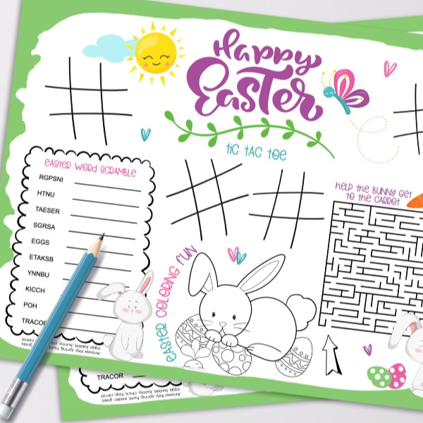 printable Easter placemat with a pencil on it