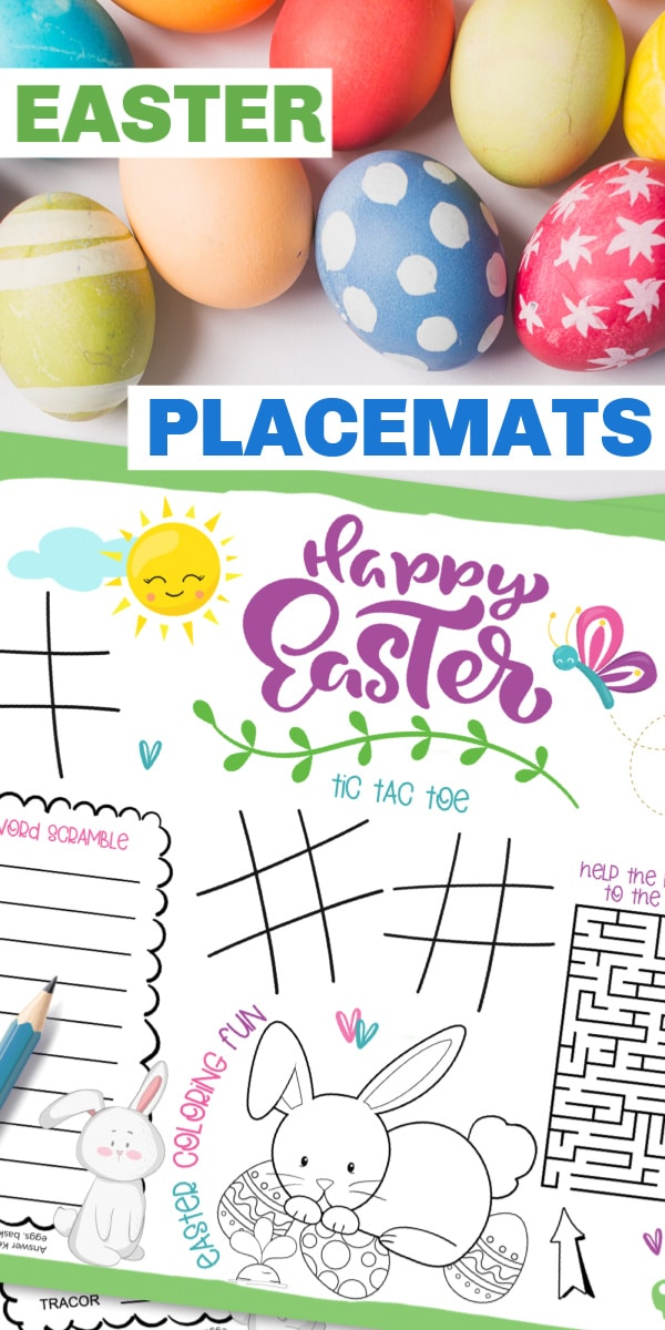 printable Easter placemat next to dyed easter eggs with title text reading Easter Placemats