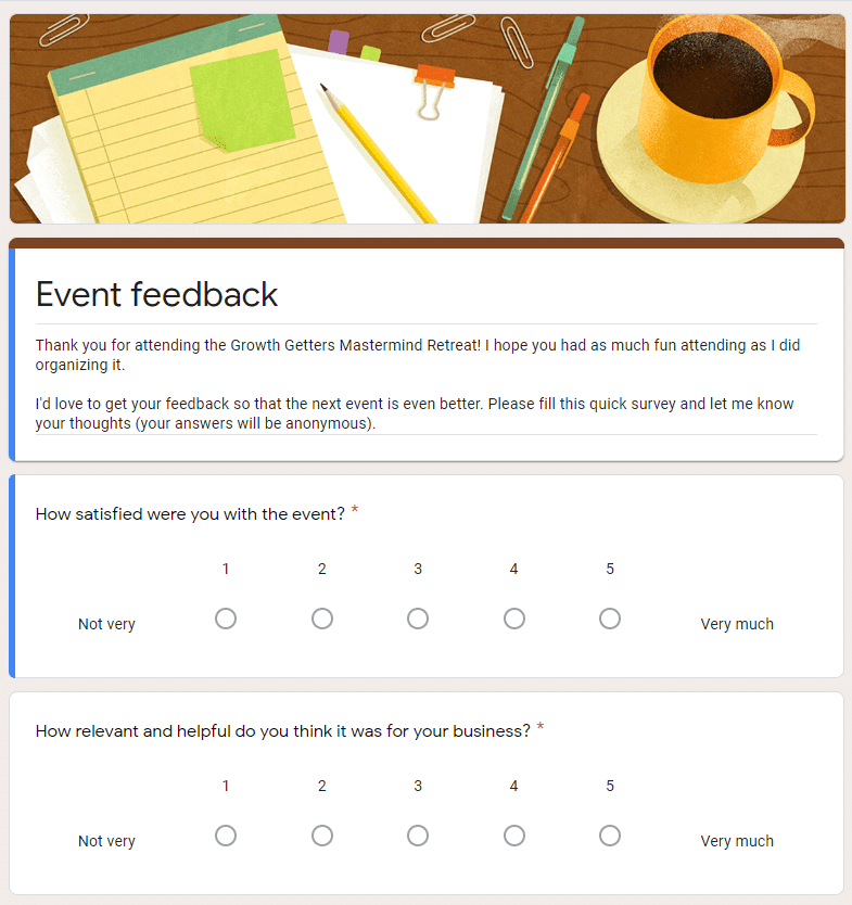 a screen shot of an event feedback survey