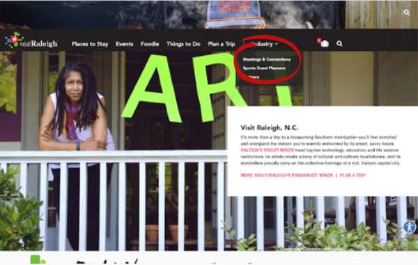 a screen shot of a website to visit Raleigh, North Carolina