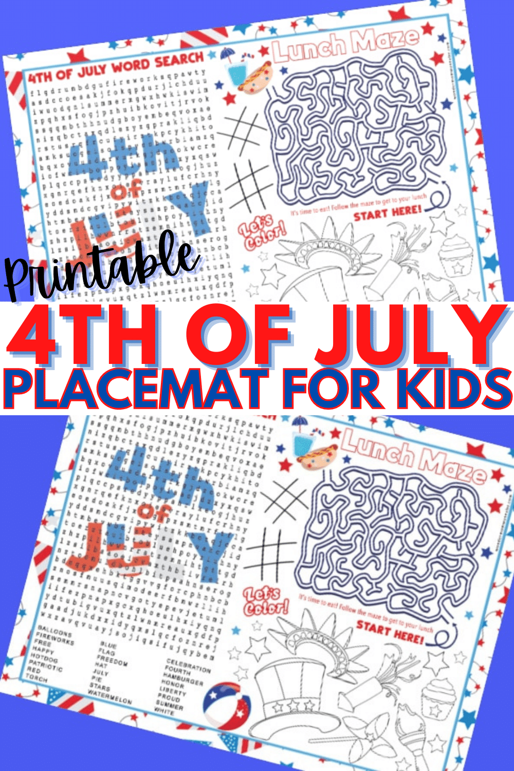 This printable 4th of July placemat for kids is patriotic and fun. A placemat with a word search, maze and coloring area, this will keep kids busy at meals. #printables #4thofJuly #placemats via @wondermomwannab