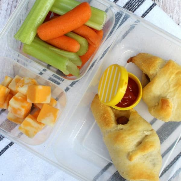 a plastic container with crescent rolls, cubed cheese, carrots & celery as Cold lunch ideas for kids