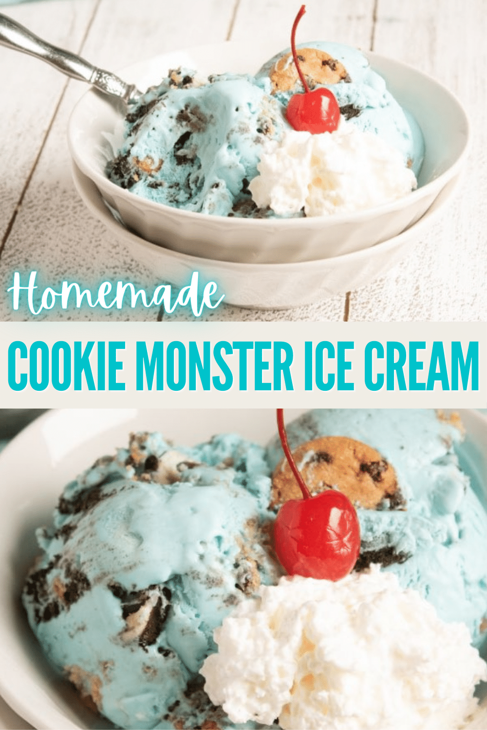 Homemade Cookie Monster Ice Cream is an easy no-churn recipe that is blue and full of cookies. Perfect dessert for birthday parties or a hot summer day. #nochurnicecream #cookiemonster #icecream via @wondermomwannab