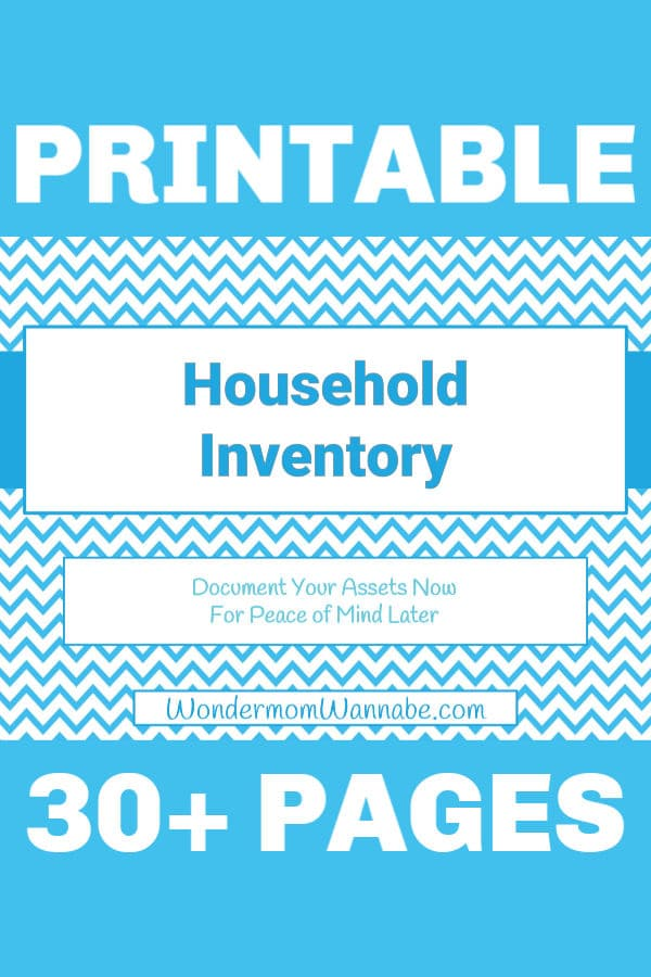 white and blue chevron graphics with text reading Printable Household Inventory Document Your Assets Now for Peace of Mind Later 30+ Pages