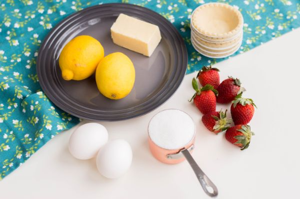ingredients for mini strawberry lemon tarts