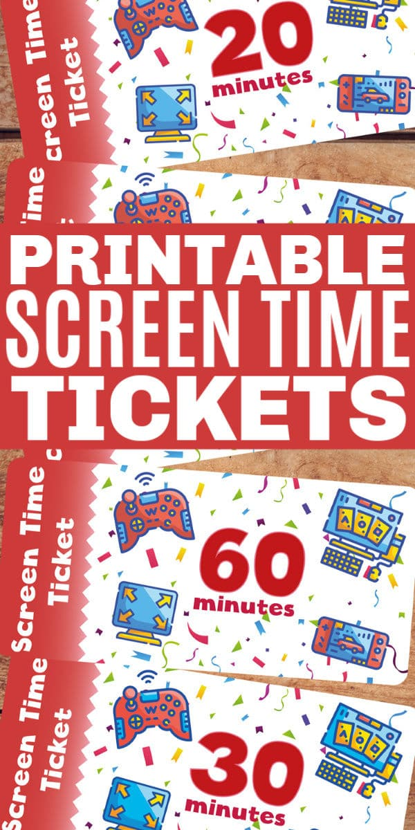 Printable screen time tickets are the perfect way to help monitor how much technology time your kids are getting each day. Use as a reward or chore system. #screentime #technologytime #printables via @wondermomwannab