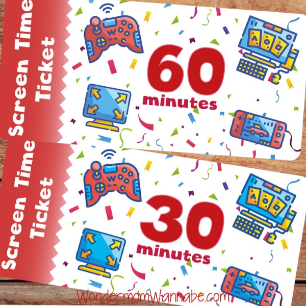 printable screen time tickets
