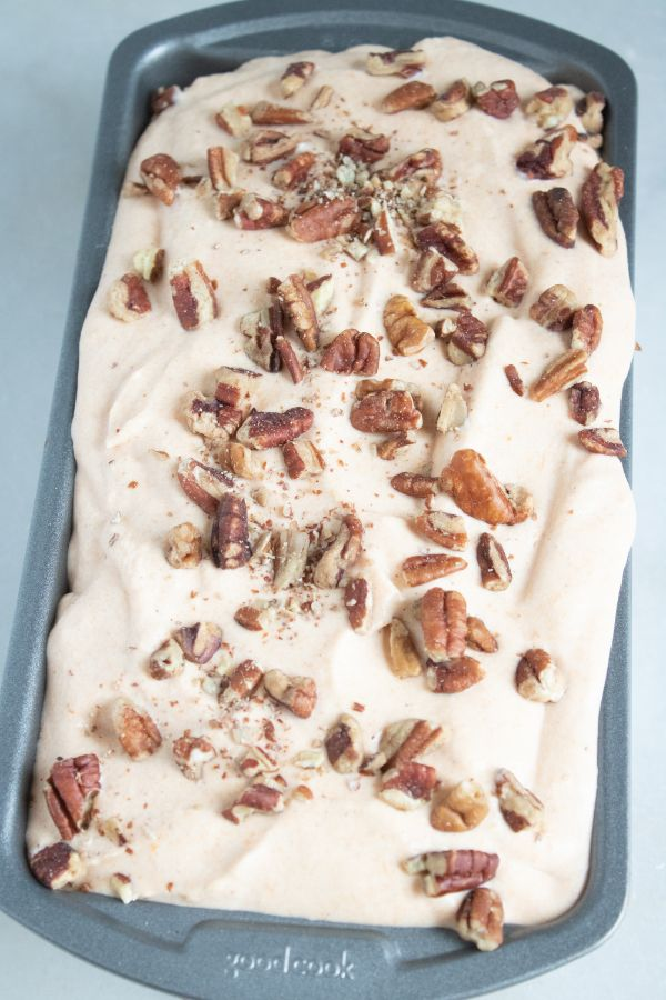 pumpkin pecan ice cream in a freezer pan