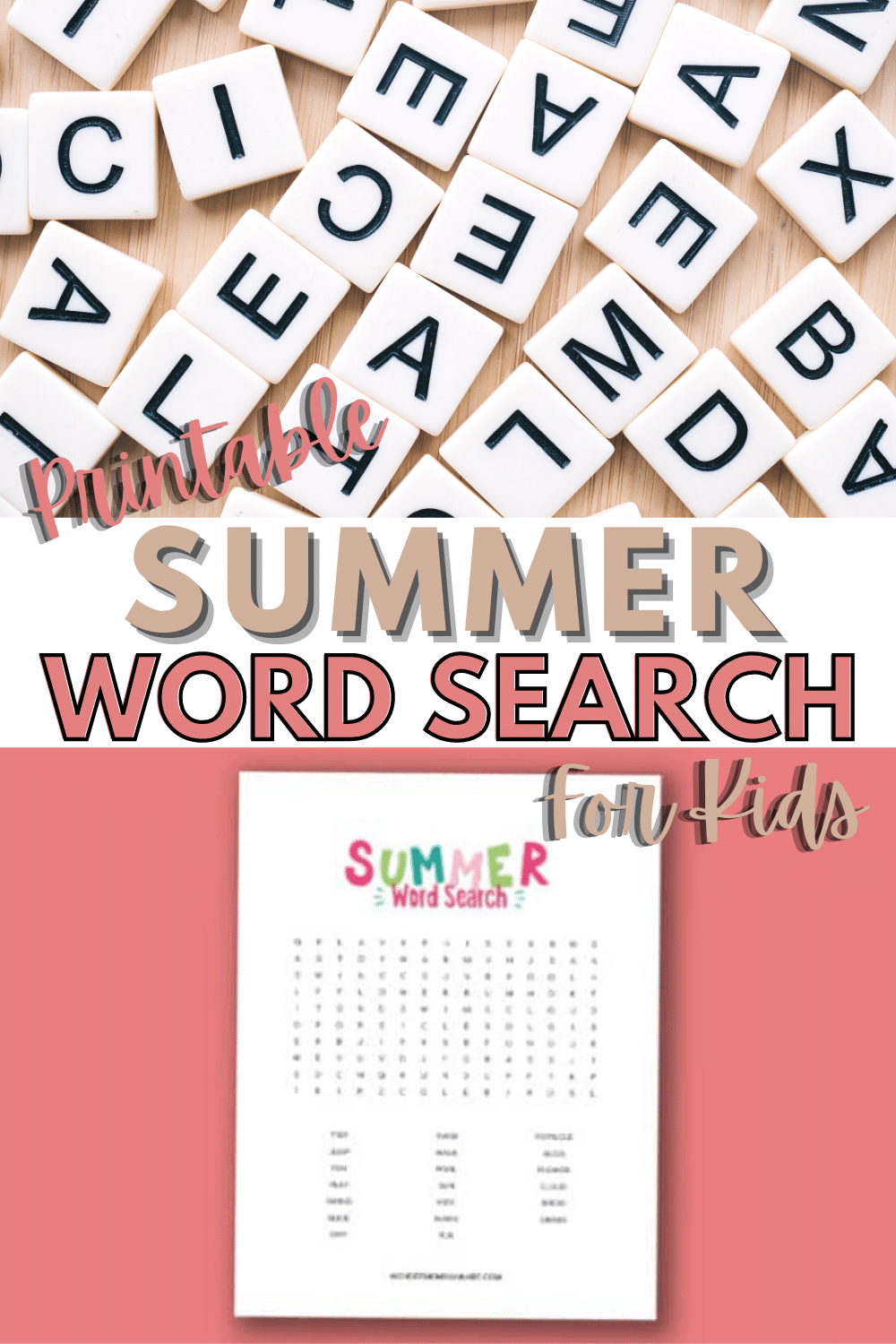 This printable summer word search for kids is summer-themed, fun and educational. A great activity for kids to keep them busy on a hot summer day. #wordsearch #printables #activitiesforkids #summer via @wondermomwannab