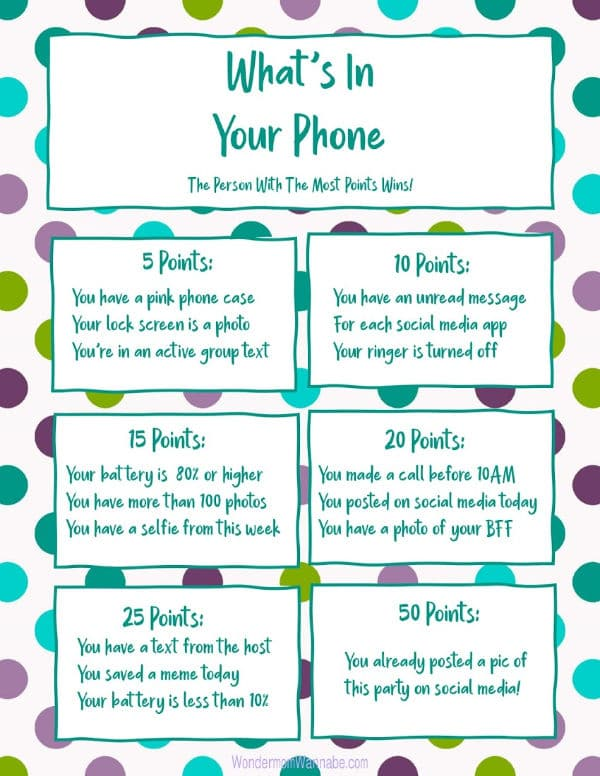 printable what's in your phone game for teens