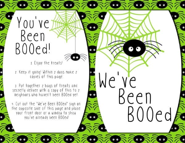 Spider themeYou've Been Booed Printables
