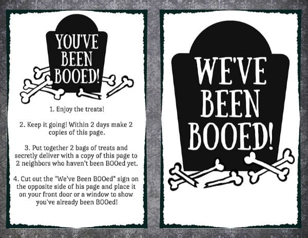 Tombstone themed You've Been Booed Printables