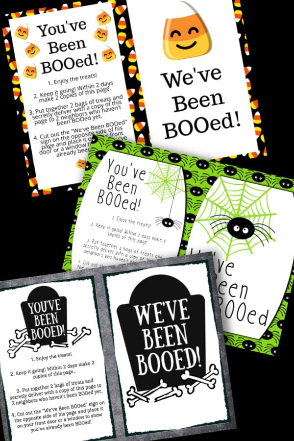 3 different You've Been Booed Printables on a black background
