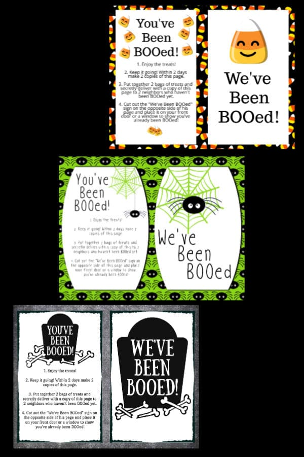 three different You've Been Booed Printables on a black background
