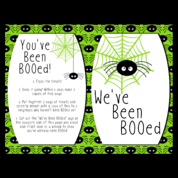 You've Been Booed Printables on a black background