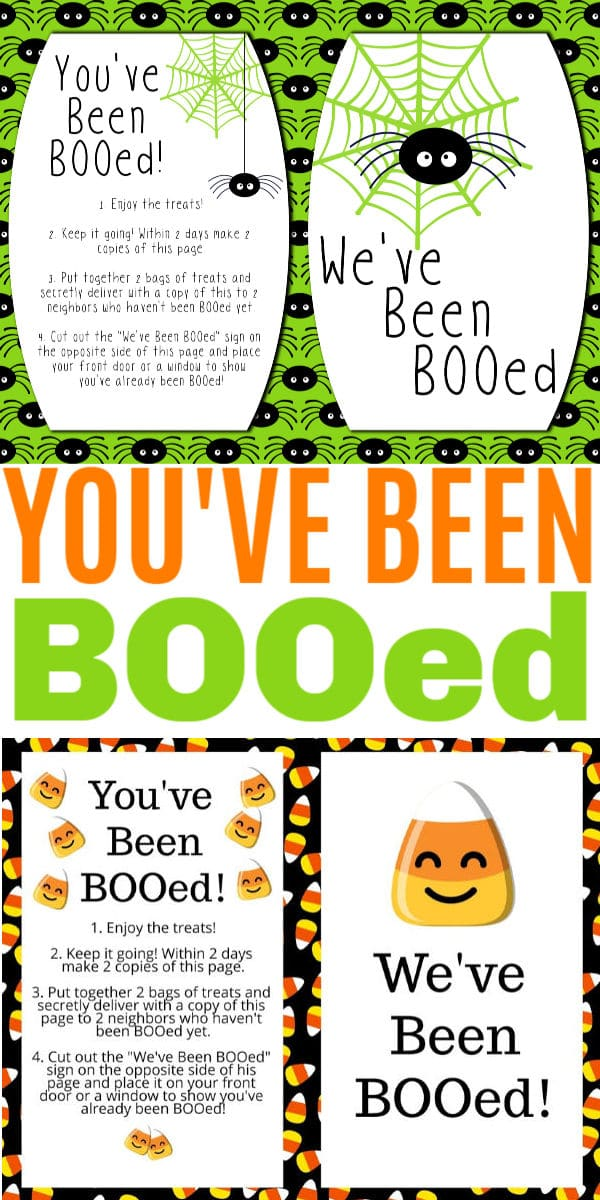 a collage of spider themed and candy corn themed You've Been Booed Printables with title text in the middle reading You've Been BOOed