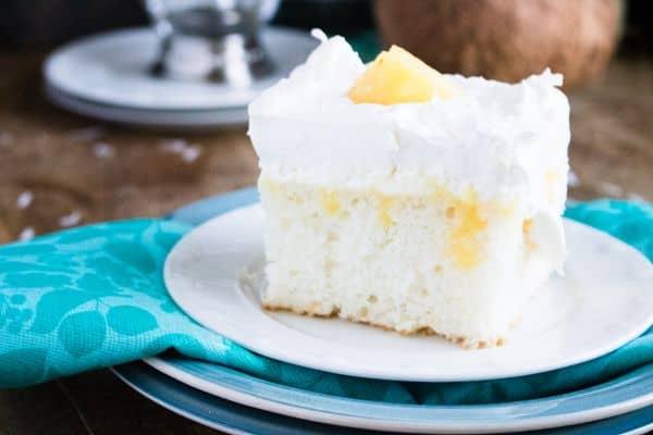 slice of pina colada cake on plate