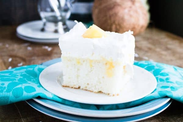 close up of pina colada cake recipe